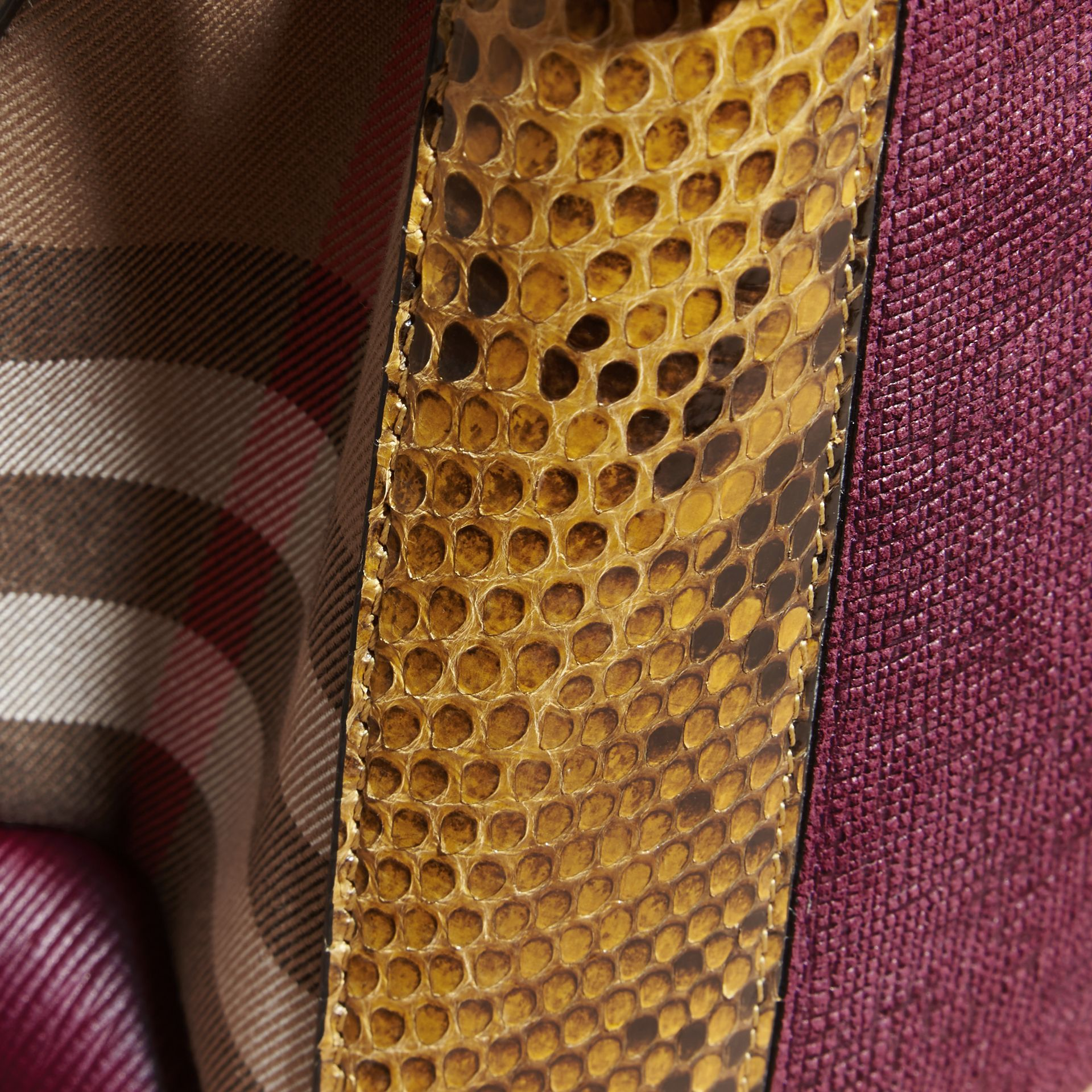 The Medium Banner in Leather, Python and House Check Elderberry - gallery image 7