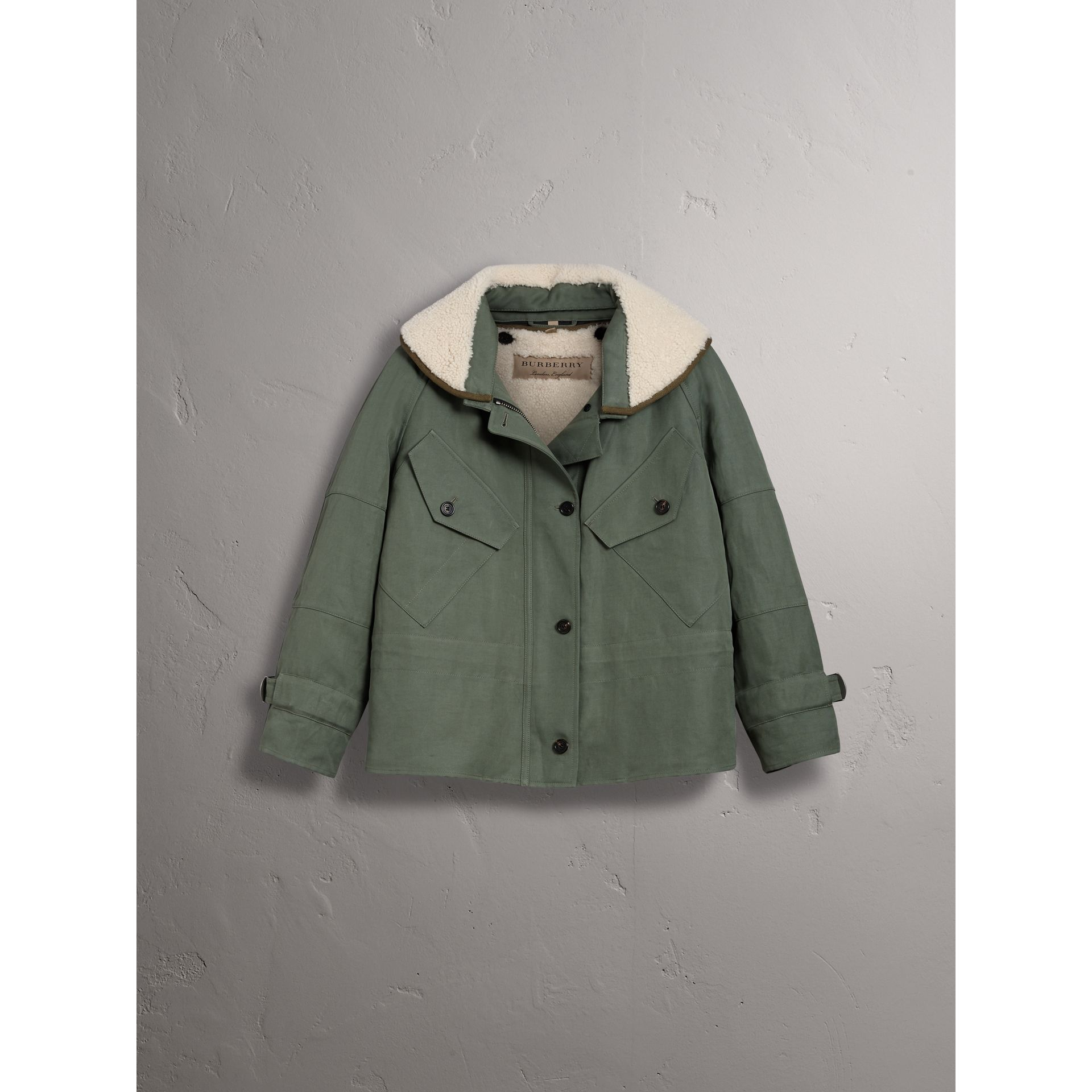 Ramie Cotton Jacket with Shearling Warmer in Slate Green - Women | Burberry United States - gallery image 3