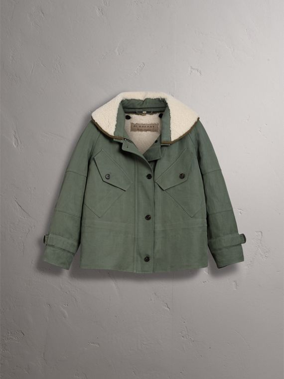Ramie Cotton Jacket with Shearling Warmer in Slate Green - Women | Burberry United Kingdom - cell image 3