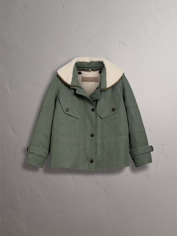Ramie Cotton Jacket with Shearling Warmer in Slate Green | Burberry - cell image 3