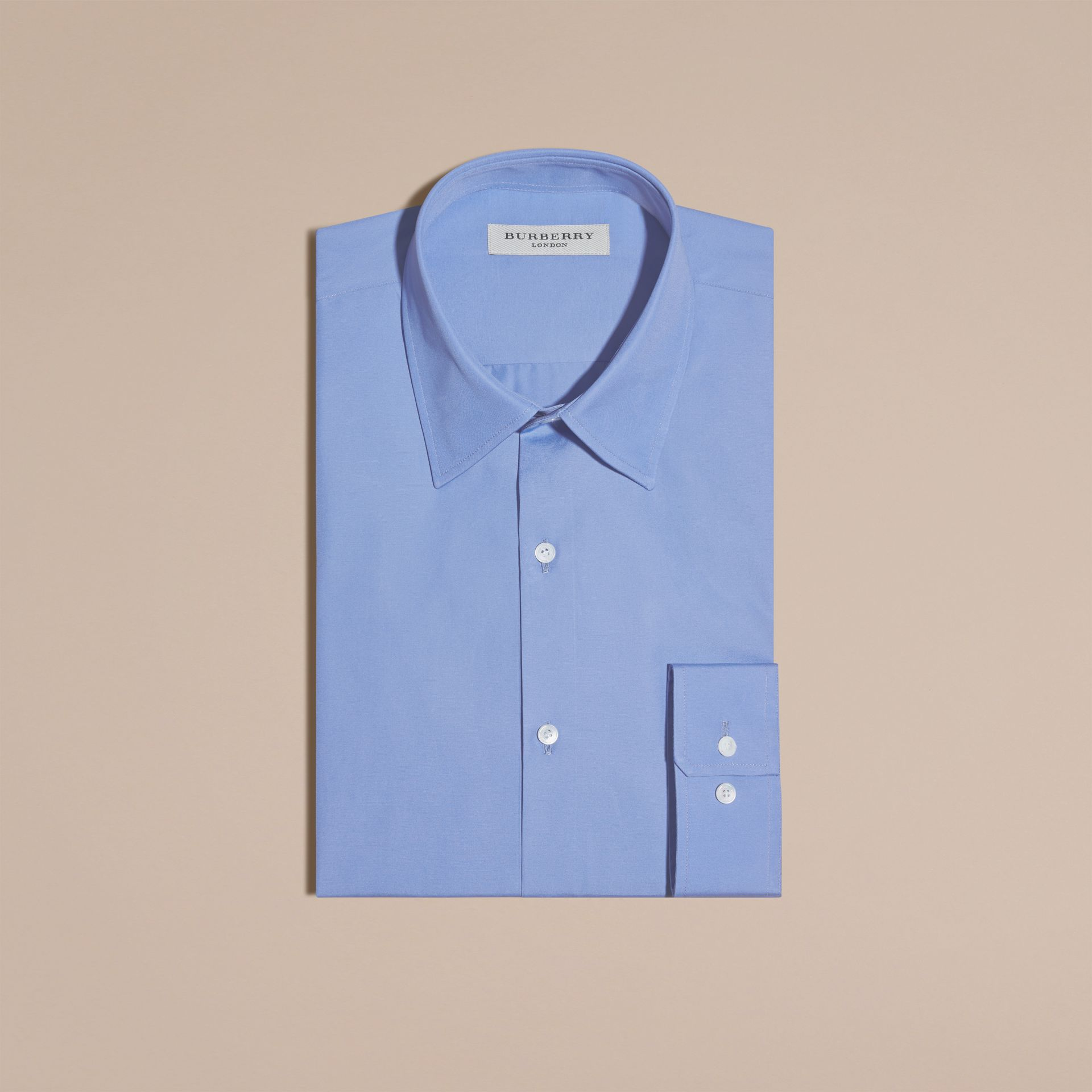 Modern Fit Cotton Poplin Shirt in Mid Blue - gallery image 4
