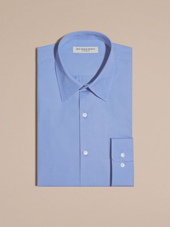 Modern Fit Cotton Poplin Shirt in Mid Blue - cell image 3