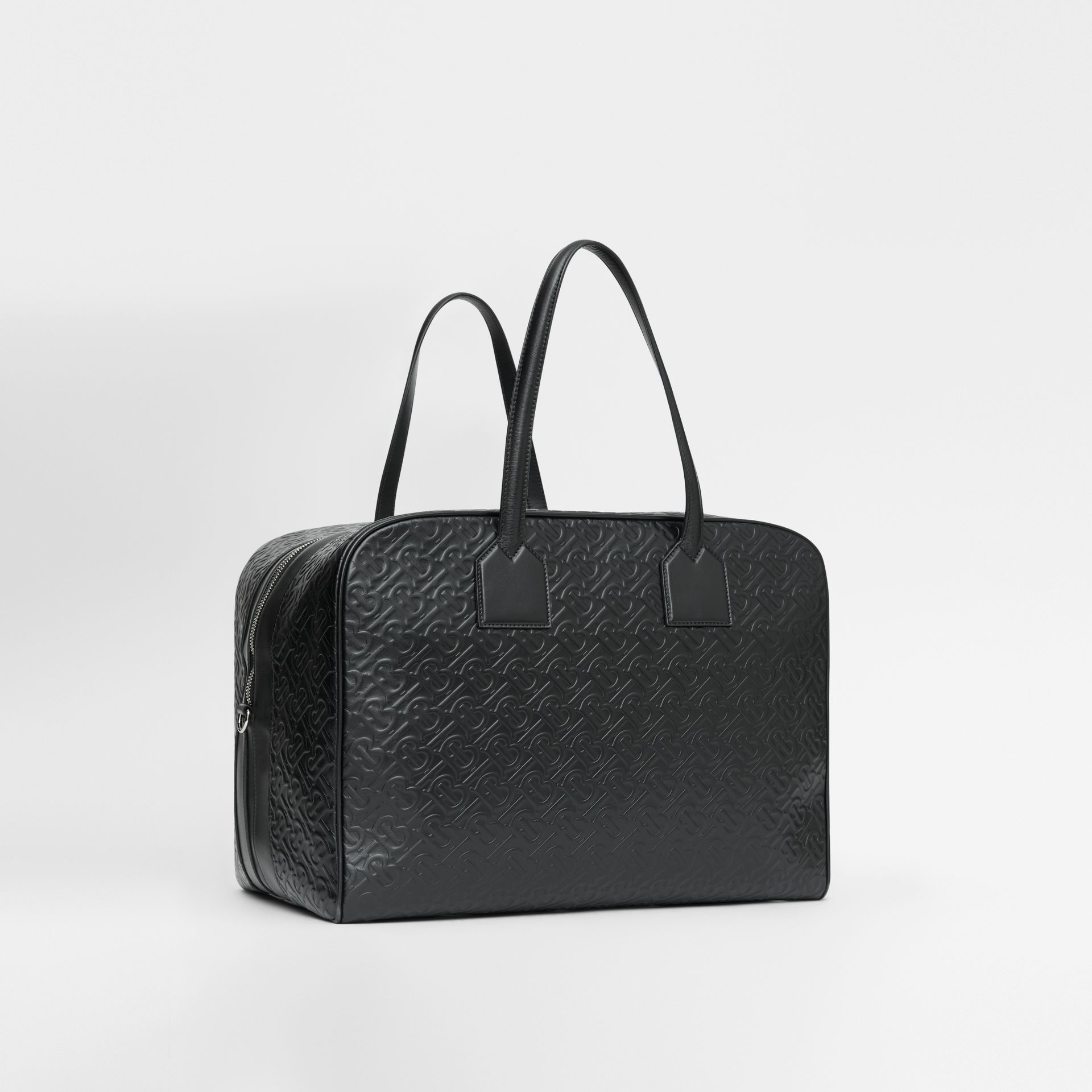 Large Monogram Leather Cube Bag in Black - Men | Burberry - gallery image 5
