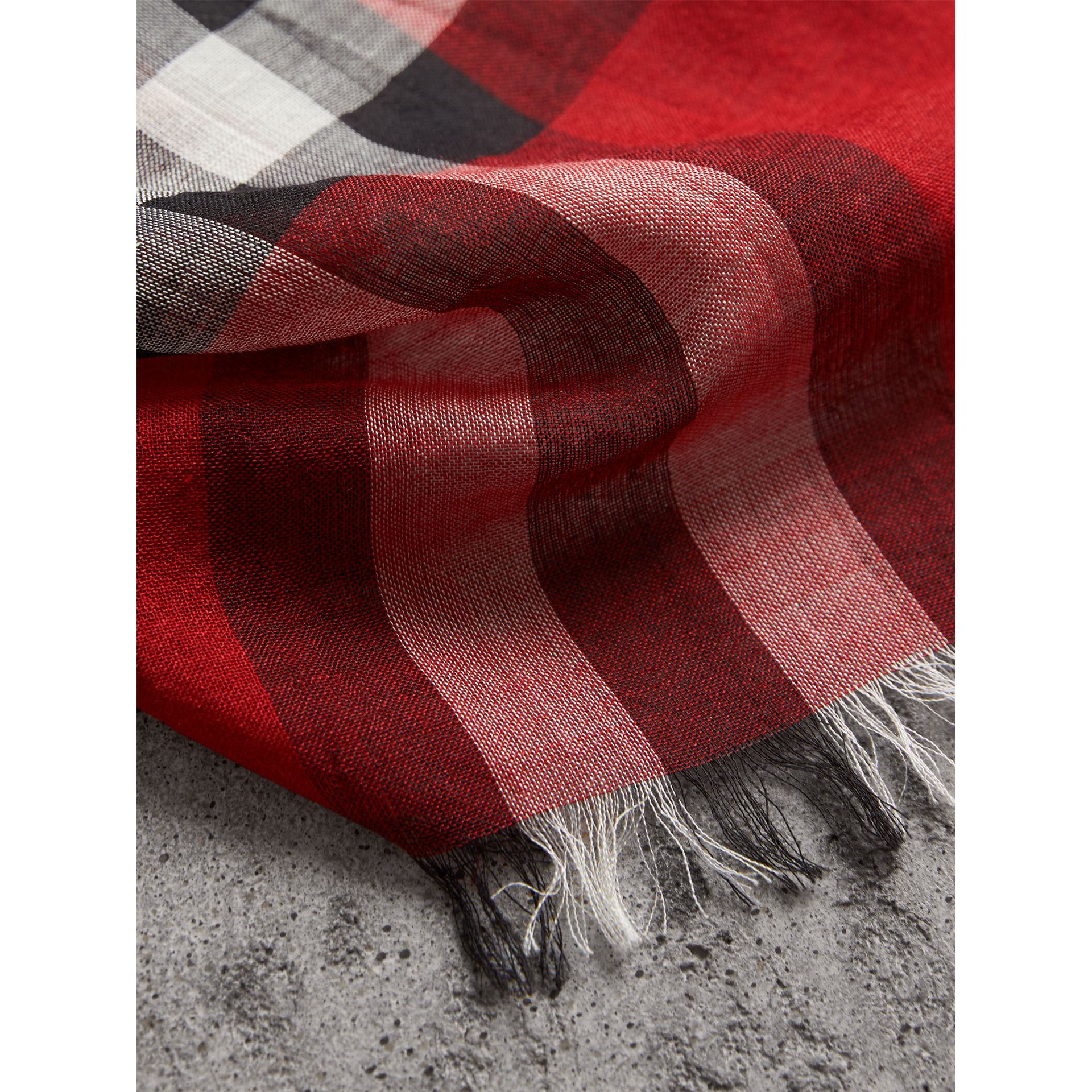 Lightweight Check Wool and Silk Scarf in Parade Red | Burberry - gallery image 2