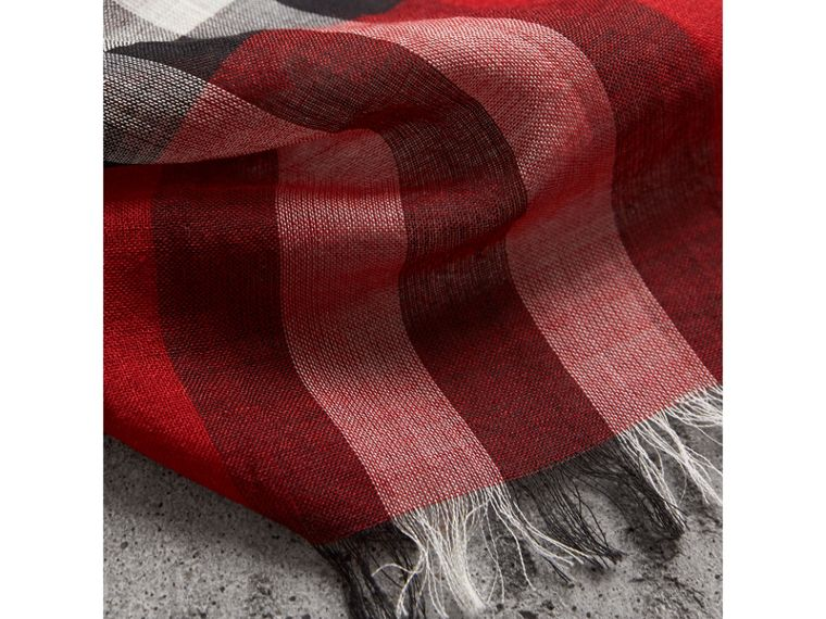 Lightweight Check Wool and Silk Scarf in Parade Red | Burberry - cell image 1