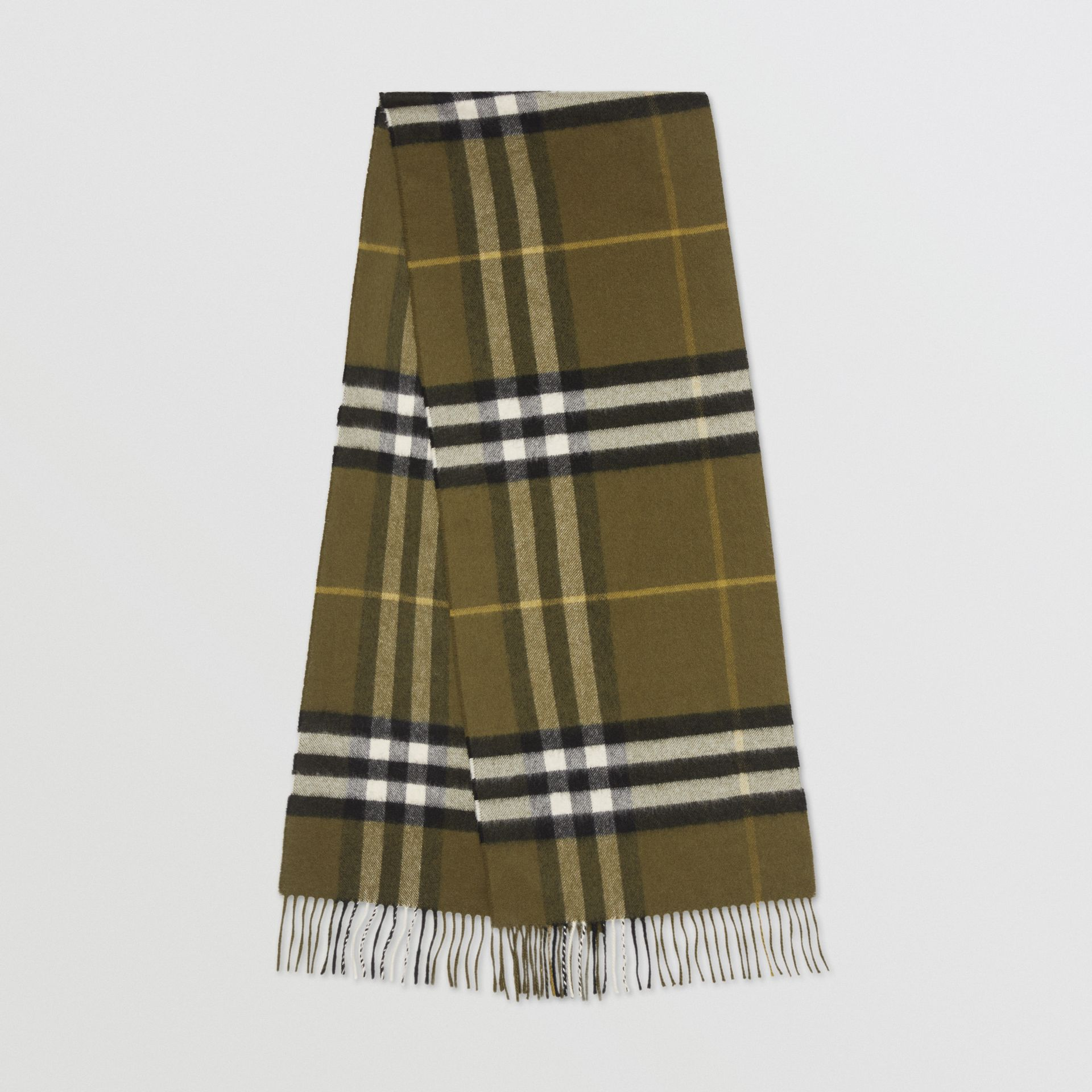 The Classic Check Cashmere Scarf in Olive Green | Burberry - gallery image 0