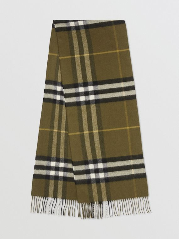 The Classic Check Cashmere Scarf in Olive Green