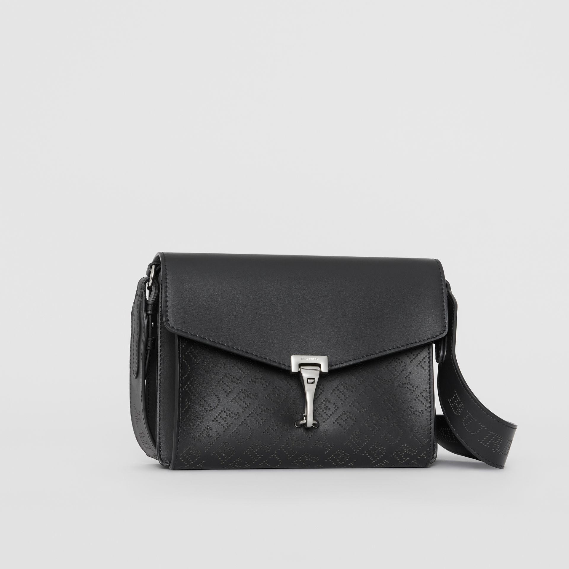 Small Perforated Logo Leather Crossbody Bag in Black - Women | Burberry United States - gallery image 4