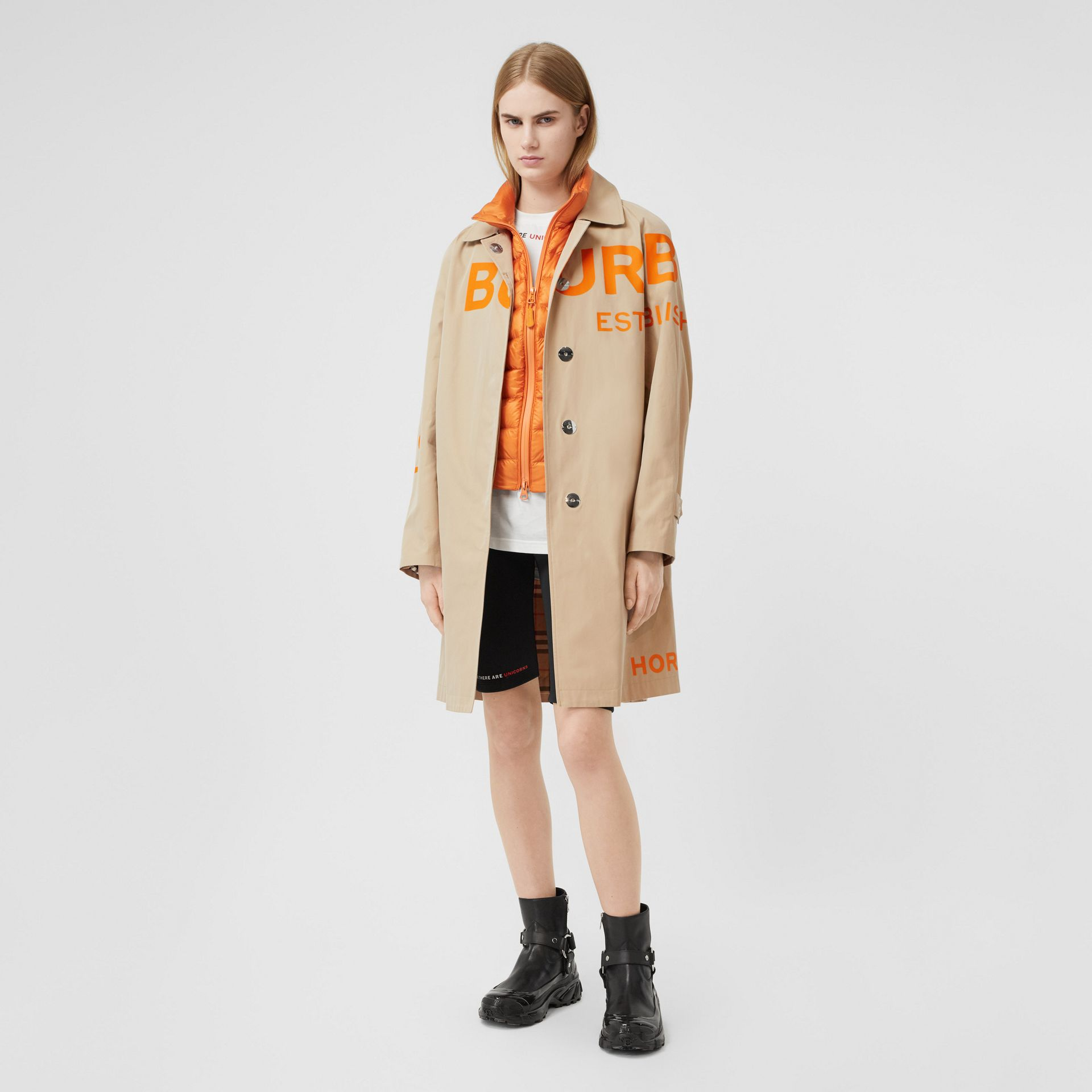 Horseferry Print Cotton Gabardine Car Coat in Honey - Women | Burberry - gallery image 0