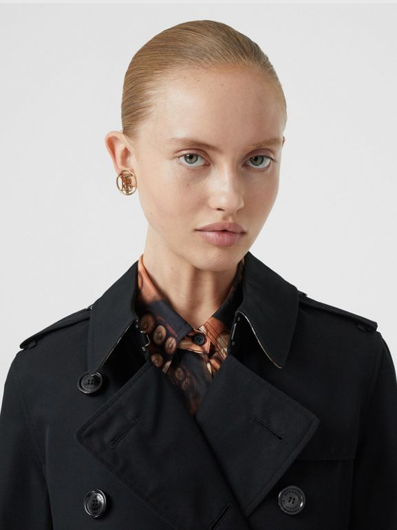 Kensington Fit Cotton Gabardine Trench Coat in Black - Women | Burberry - cell image 1