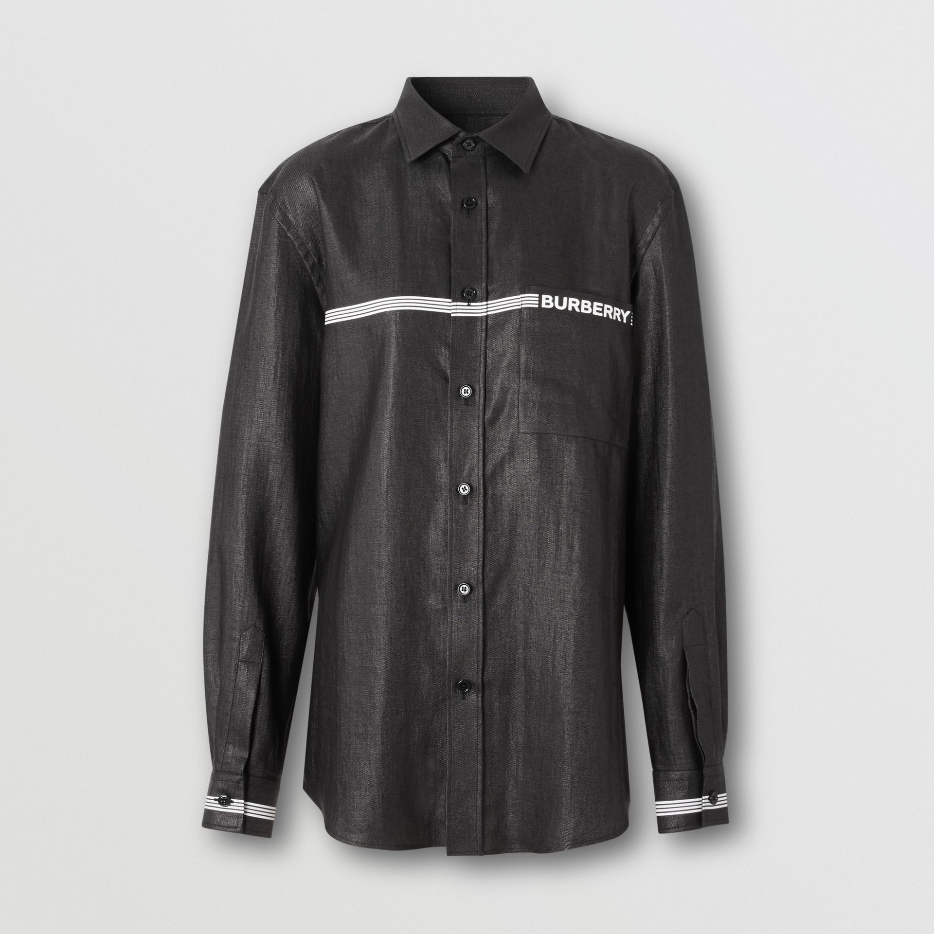 Logo Print Linen Blend Shirt in Black | Burberry - gallery image 3
