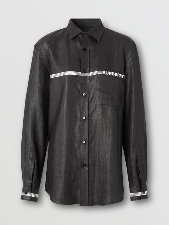 Logo Print Linen Blend Shirt in Black