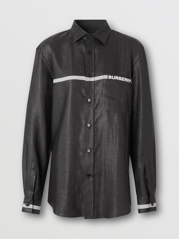 Logo Print Linen Blend Shirt in Black | Burberry - cell image 3