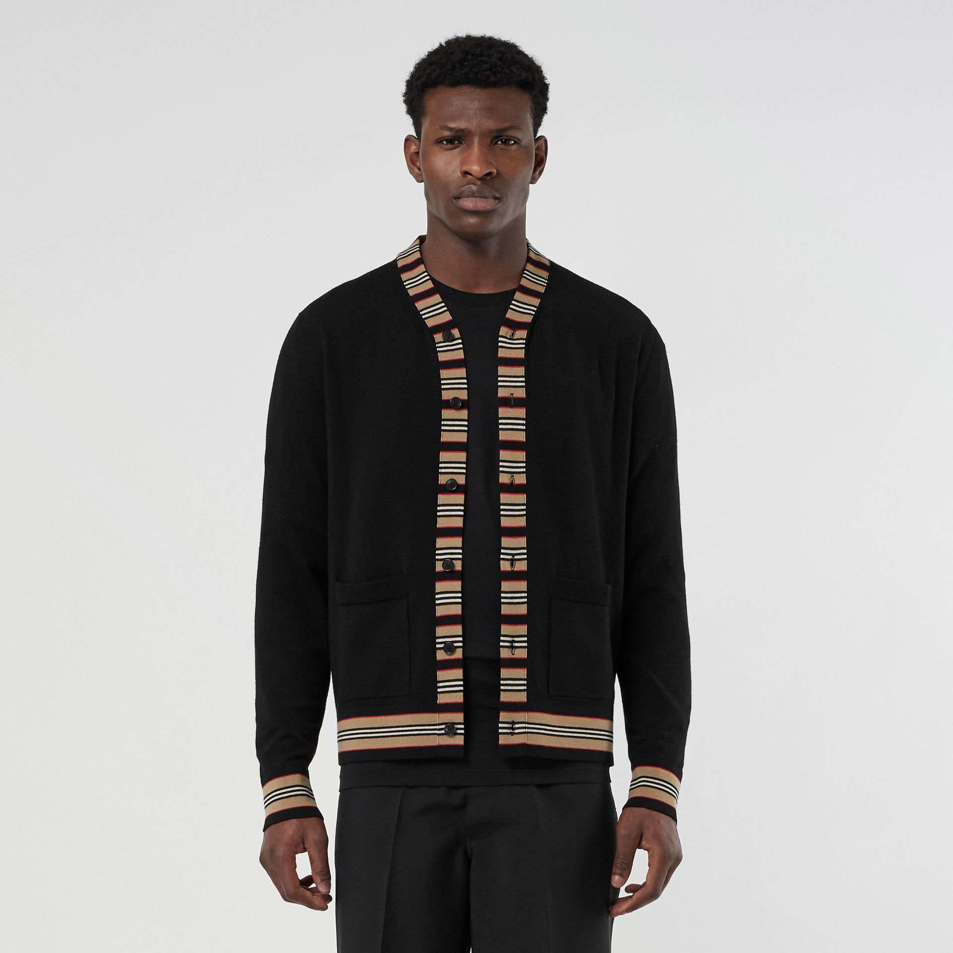 Icon Stripe Detail Merino Wool Cardigan in Black - Men | Burberry United Kingdom - gallery image 0