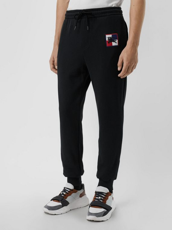 Chequer EKD Cotton Trackpants in Black