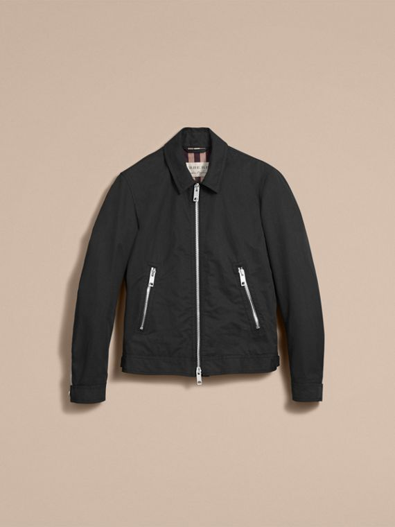 Cotton Blend Cropped Jacket in Black - Men | Burberry - cell image 3