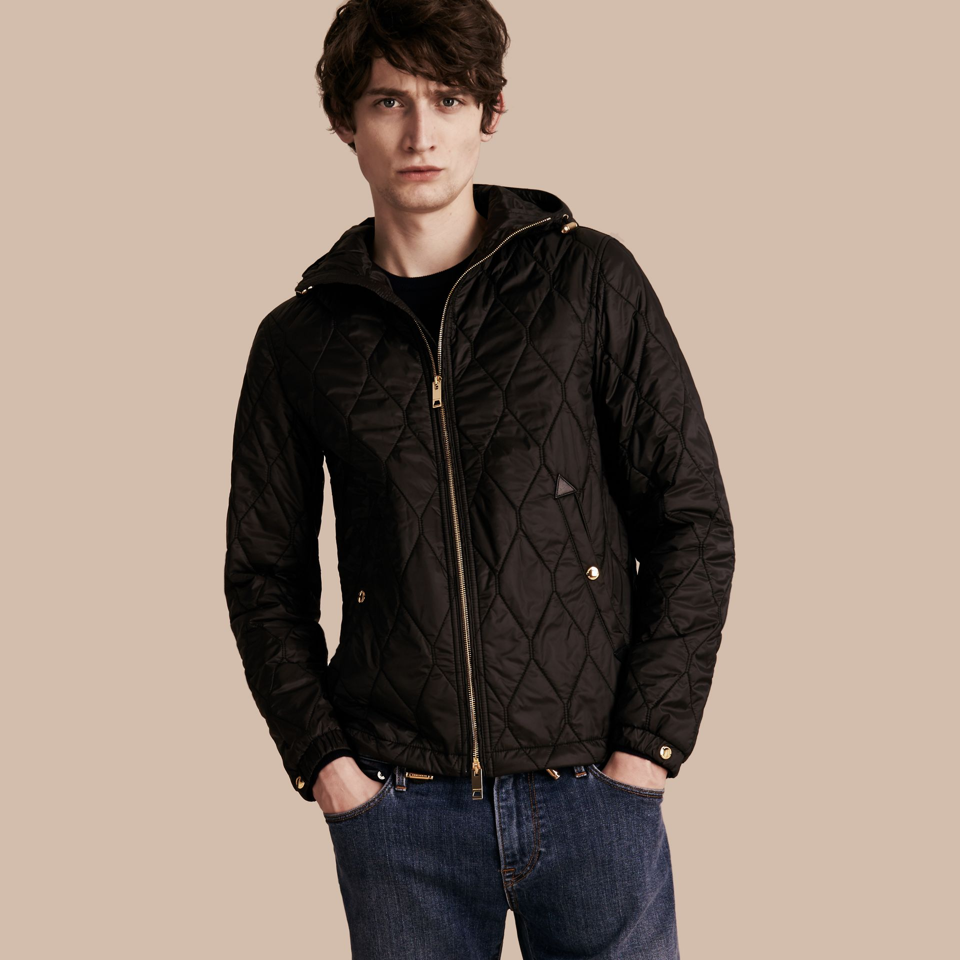 Black Hooded Lightweight Quilted Jacket - gallery image 1