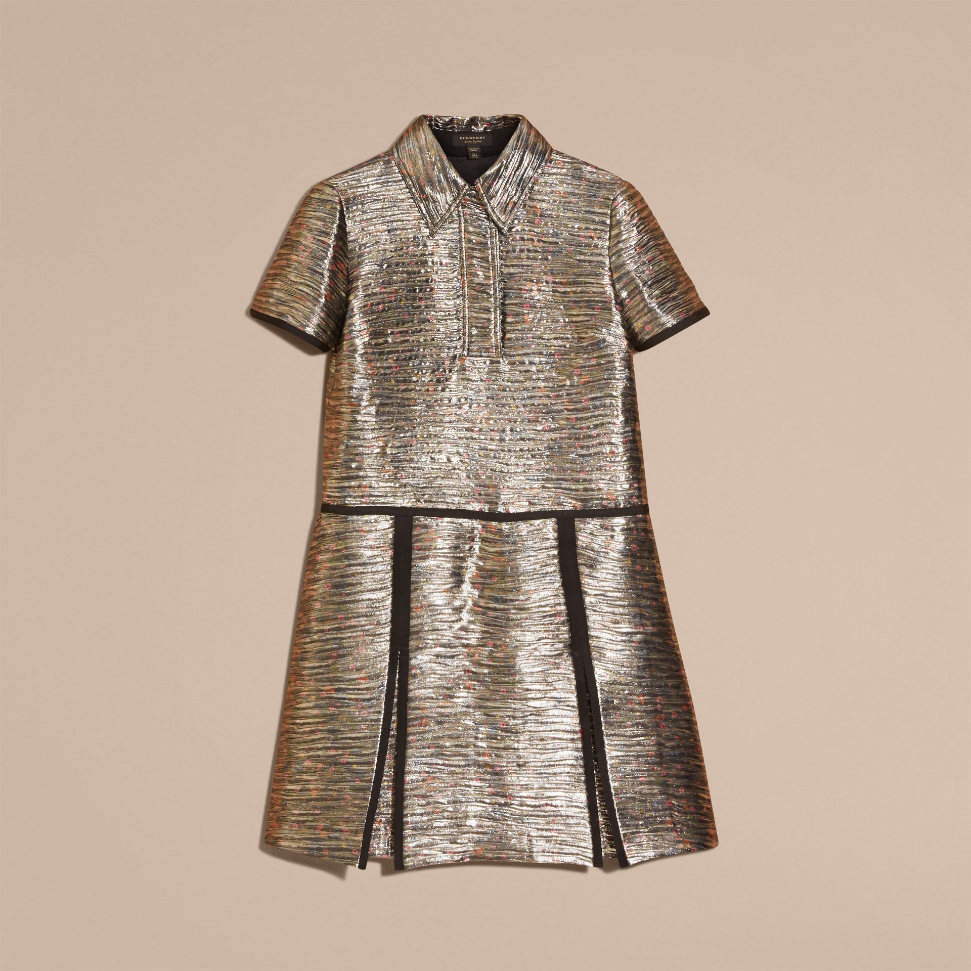 Mist grey Metallic Jacquard Shirt Dress - gallery image 4