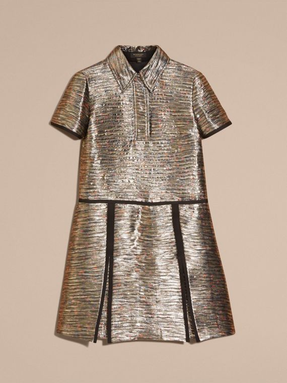 Mist grey Metallic Jacquard Shirt Dress - cell image 3