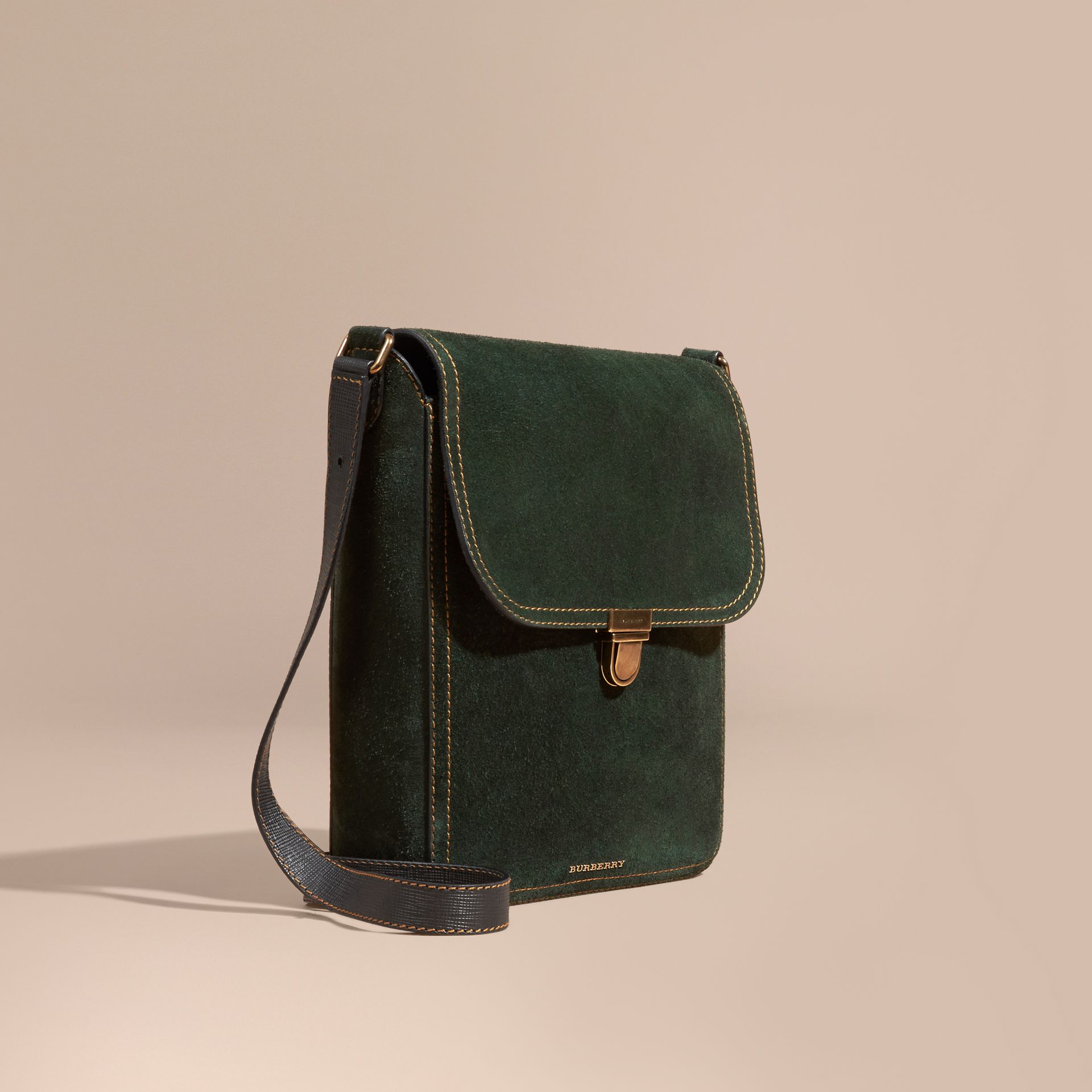 Dark forest green The Medium Satchel in English Suede - gallery image 1