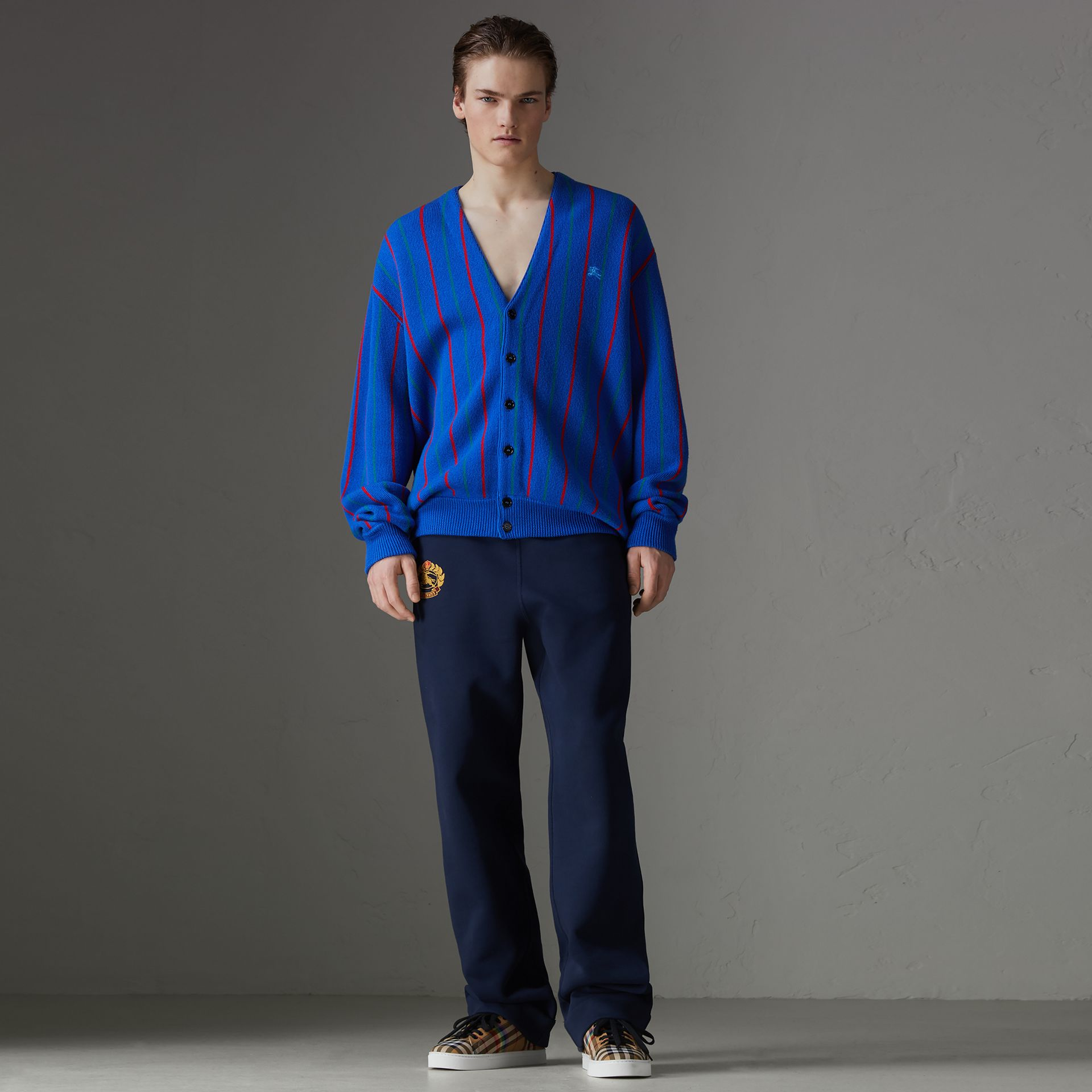 Reissued Striped Wool Cardigan in Royal Blue - Men | Burberry United States - gallery image 5