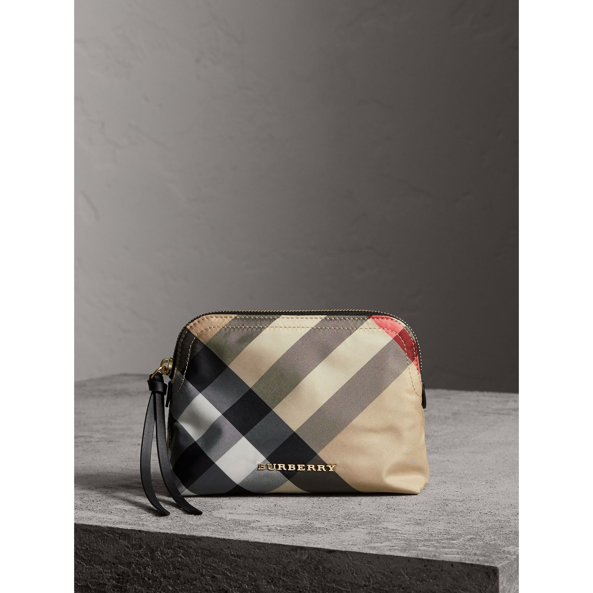 Medium Zip-top Check Technical Pouch in Camel - Women | Burberry - gallery image 1