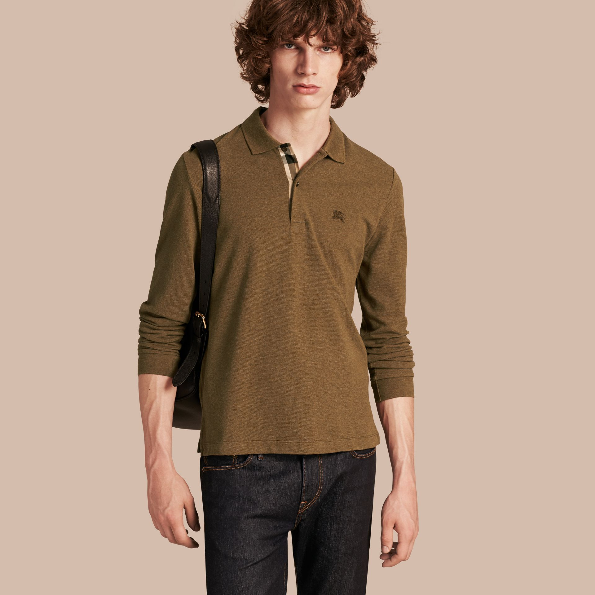 Military green mel Check Placket Long Sleeve Polo Shirt Military Green Mel - gallery image 1