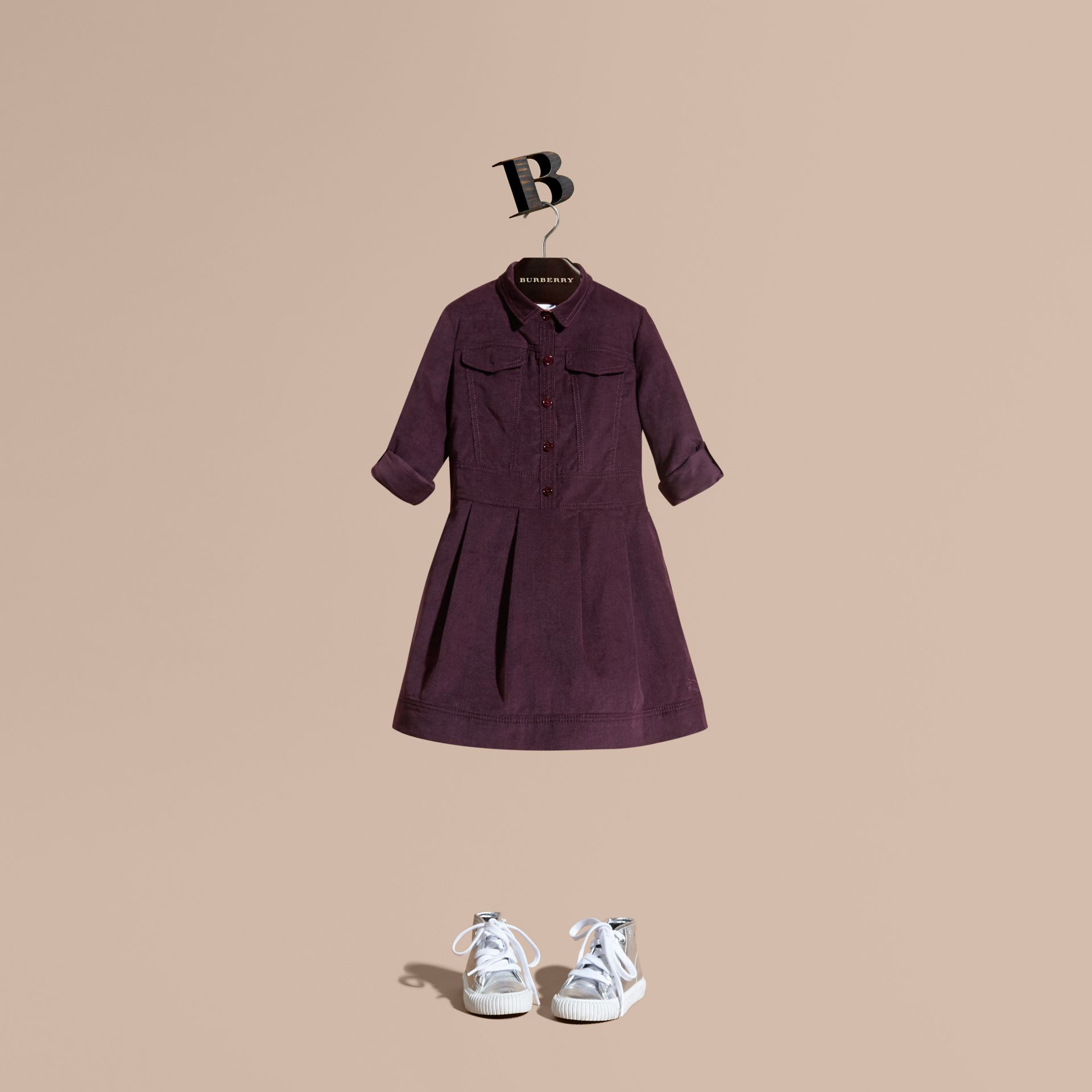 Blackcurrant Cotton Corduroy Shirt Dress Blackcurrant - gallery image 1