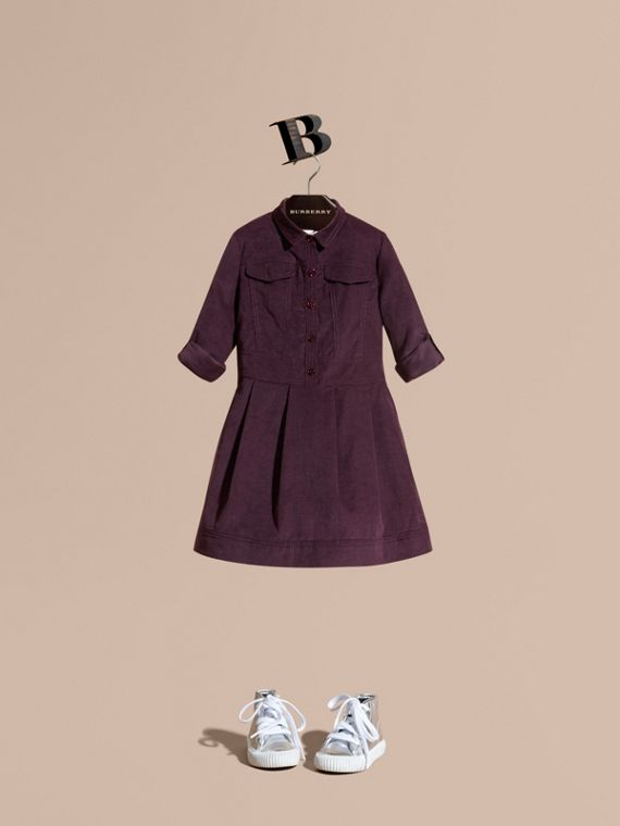 Cotton Corduroy Shirt Dress Blackcurrant