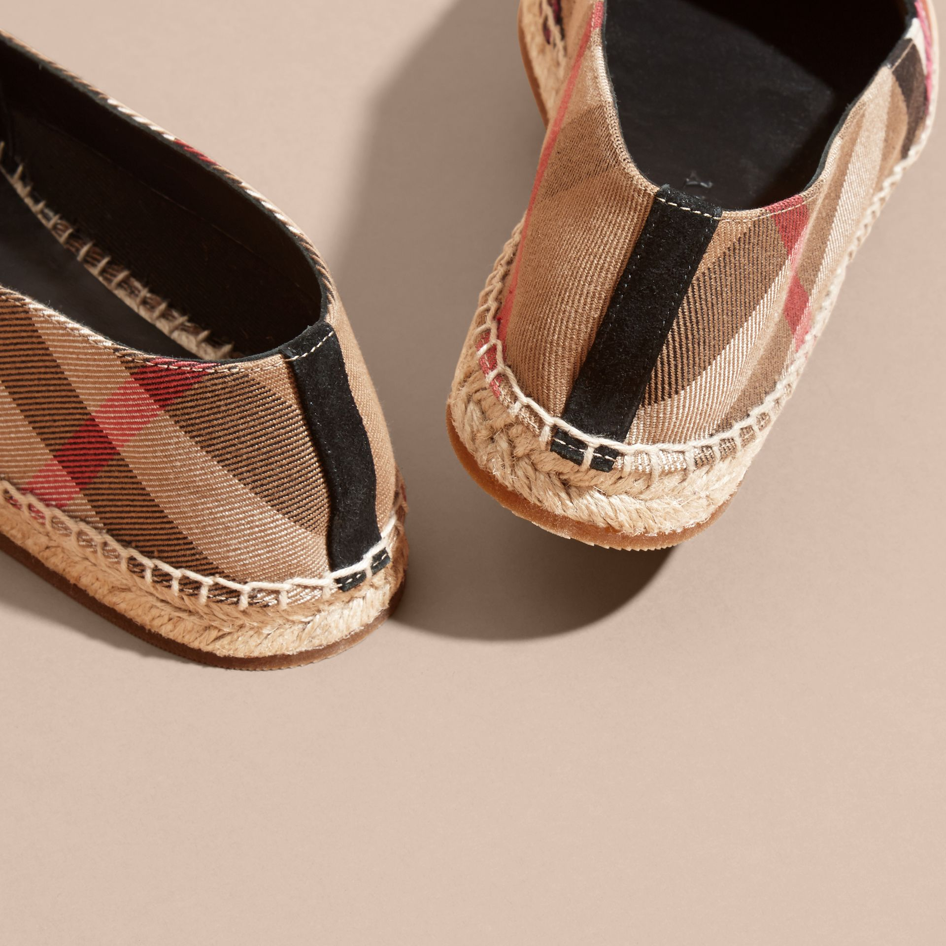Rainbow Graphic Print Canvas and Suede Check Espadrilles - gallery image 4