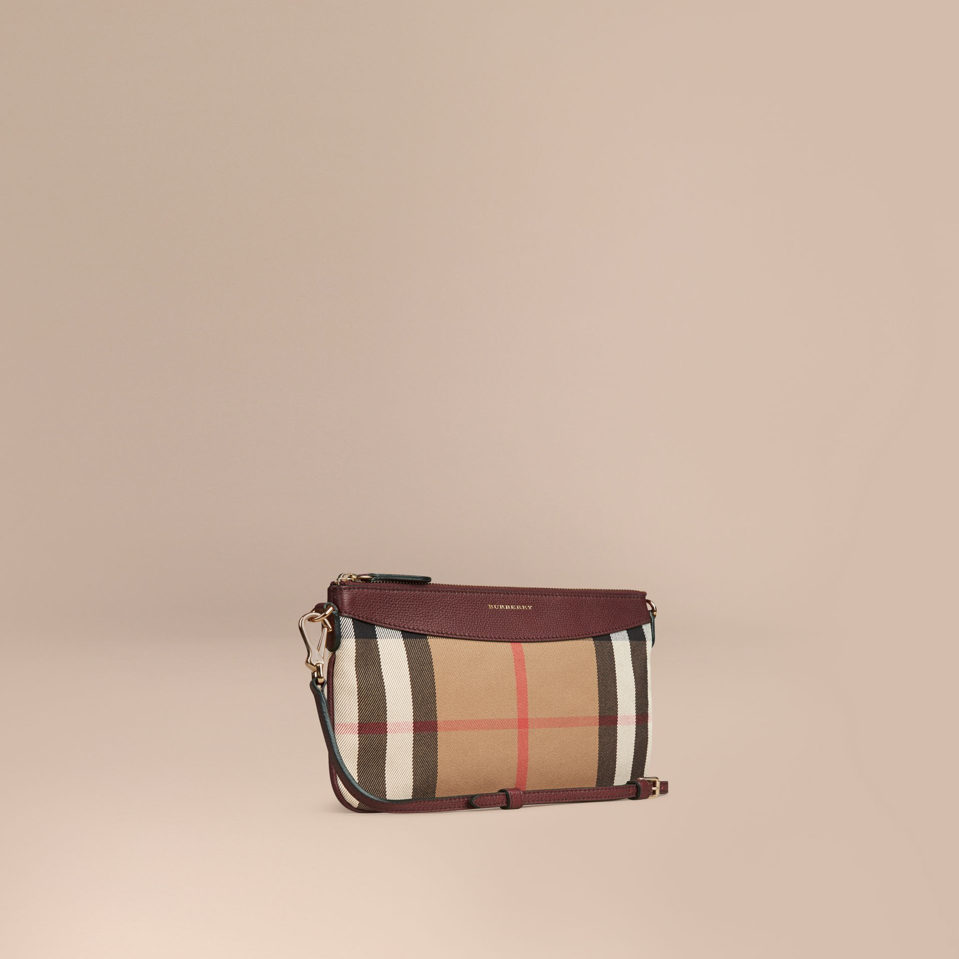 House Check and Leather Clutch Bag in Mahogany Red - gallery image 1