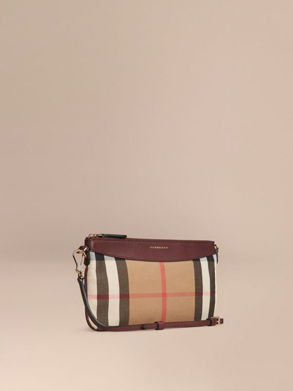 House Check and Leather Clutch Bag in Mahogany Red