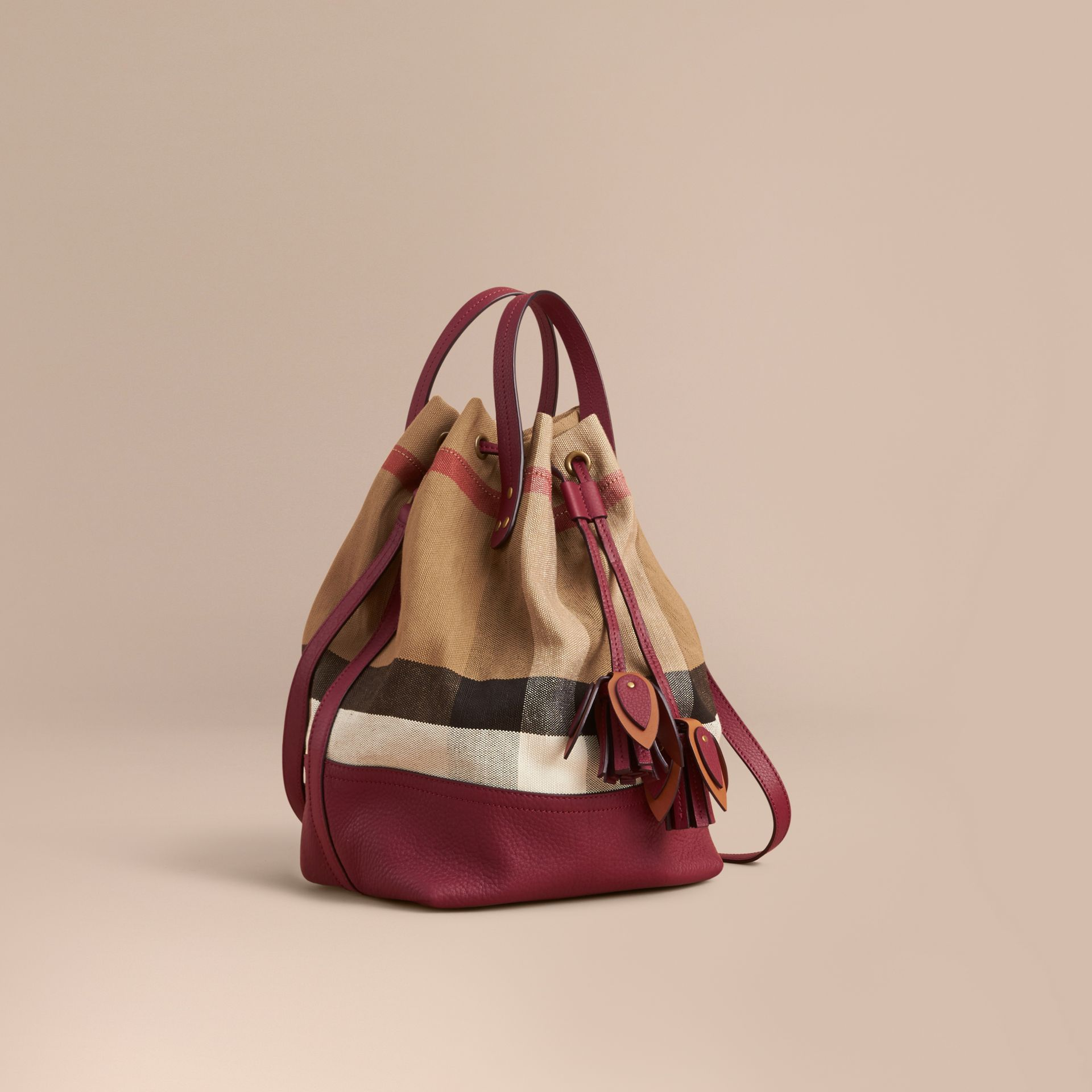 Medium Canvas Check and Leather Bucket Bag in Burgundy Red - Women | Burberry - gallery image 1