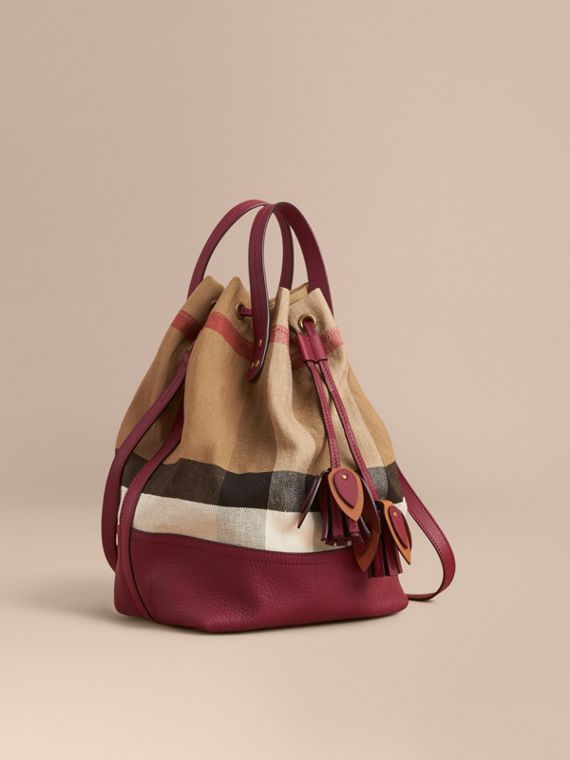 Medium Canvas Check and Leather Bucket Bag in Burgundy Red