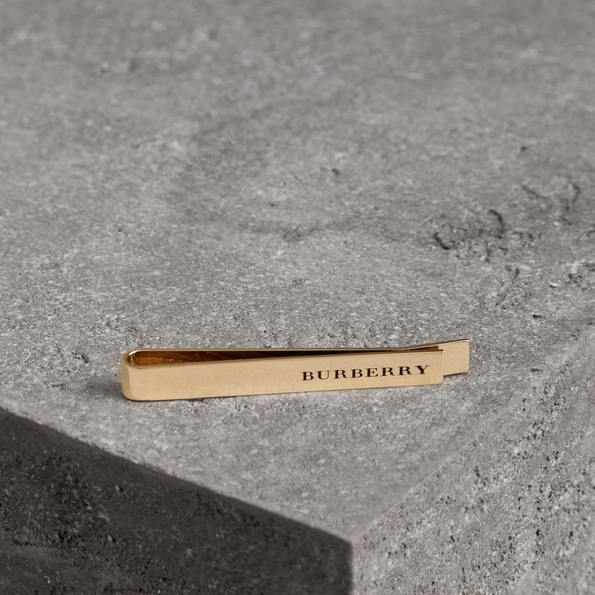 Engraved Bronze Tie Bar in Light Gold - Men | Burberry - gallery image 0