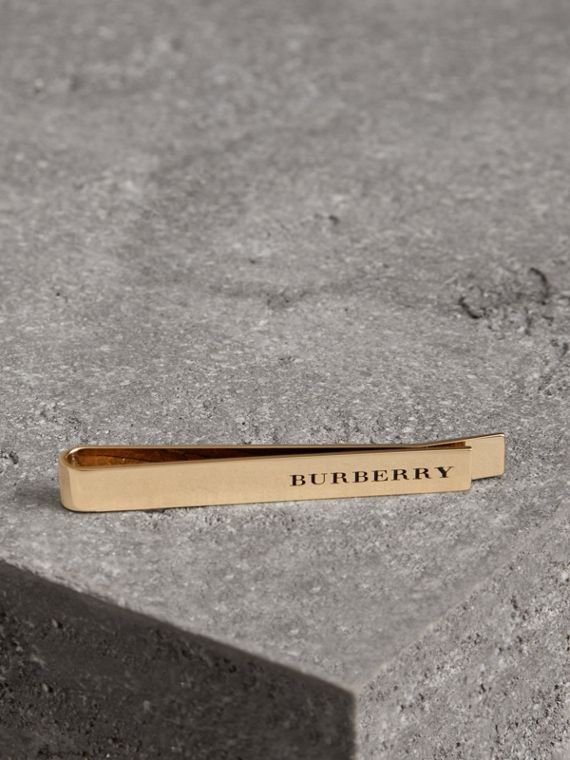 Engraved Bronze Tie Bar in Light Gold