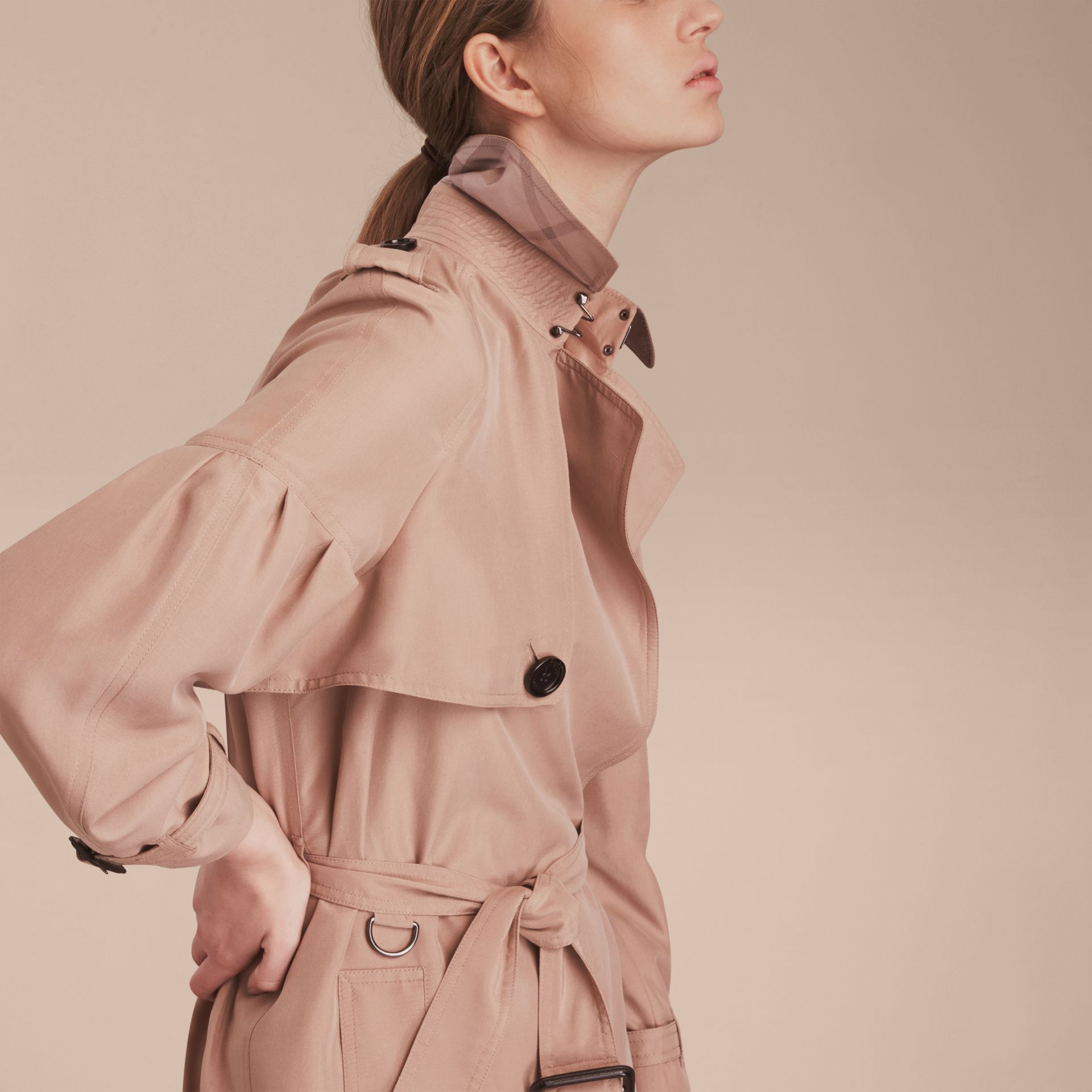 Oversize Silk Trench Coat with Puff Sleeves in Nude - gallery image 5