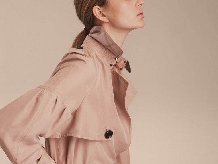 Oversize Silk Trench Coat with Puff Sleeves in Nude - cell image 4