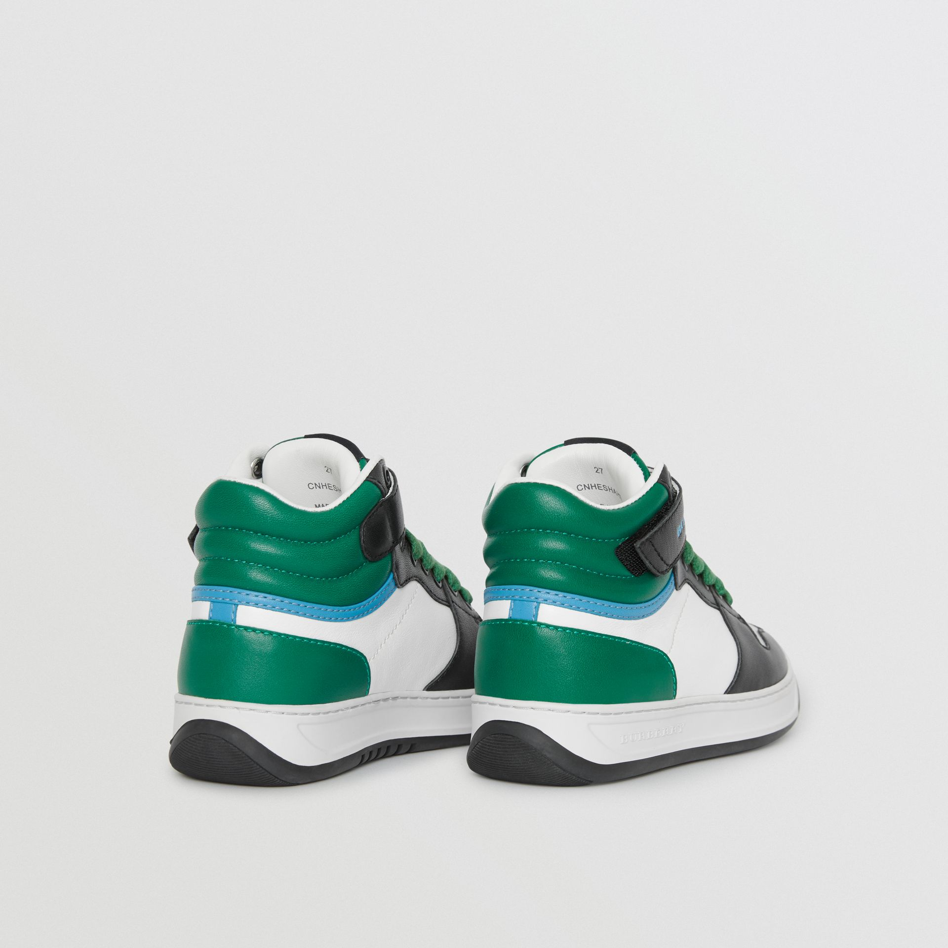 Colour Block Leather High-top Sneakers in Viridian Green - Children | Burberry United Kingdom - gallery image 2