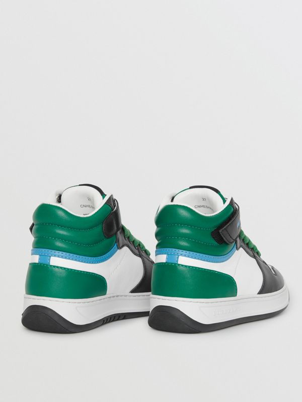 Colour Block Leather High-top Sneakers in Viridian Green - Children | Burberry - cell image 2