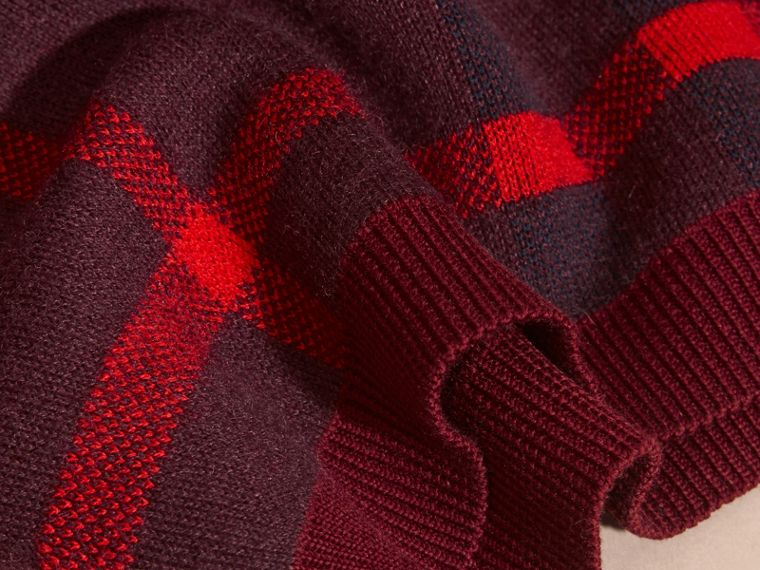 Deep claret Check Wool Cashmere Blend Sweater Deep Claret - cell image 1