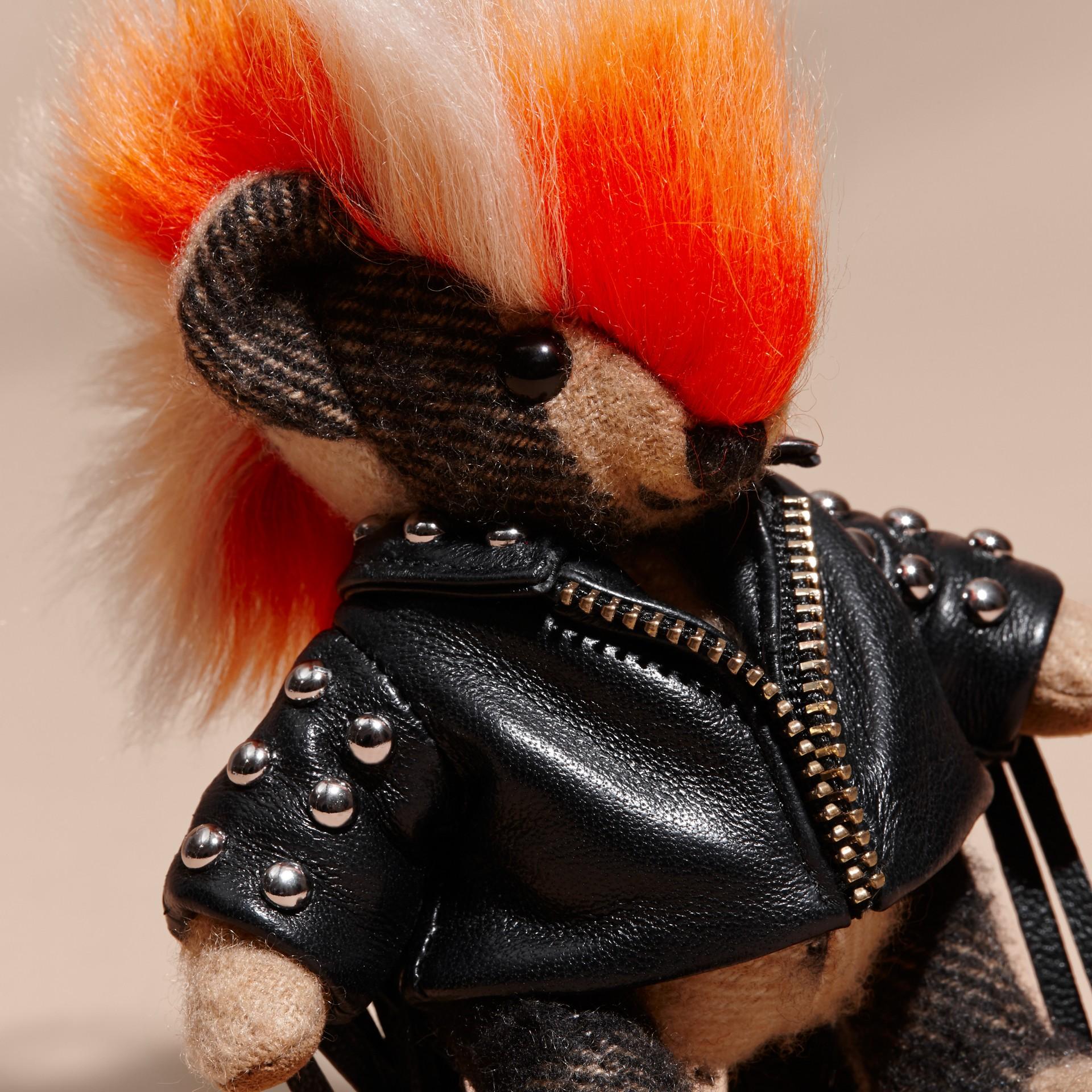 The Punk Thomas Bear Charm with Fringed Lambskin Jacket - gallery image 2