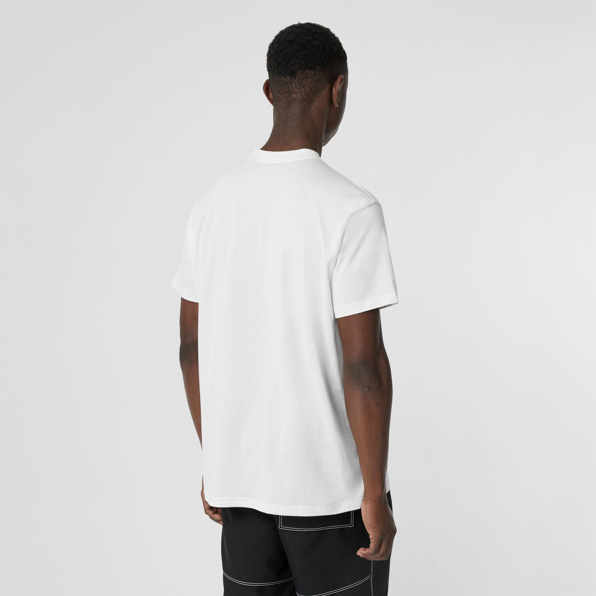 Montage Print Cotton Oversized T-shirt in White - Men | Burberry United Kingdom - gallery image 2