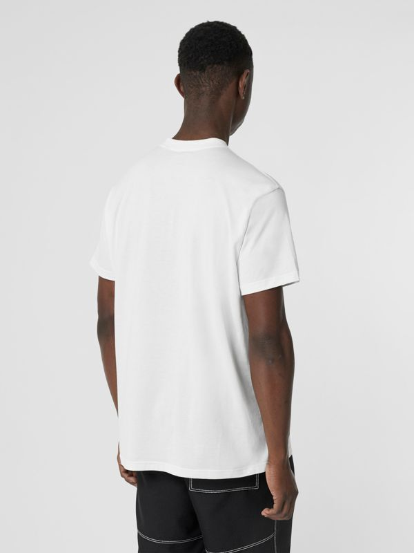 Montage Print Cotton Oversized T-shirt in White - Men | Burberry - cell image 2