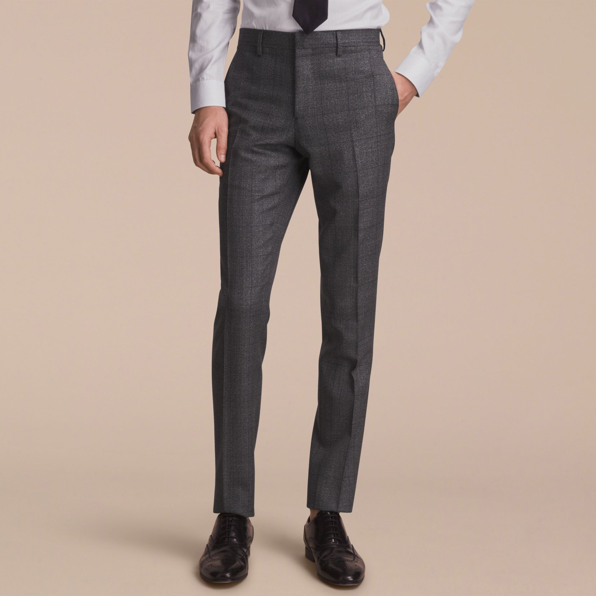 Slim Fit Check Half-canvas Wool Suit - gallery image 9
