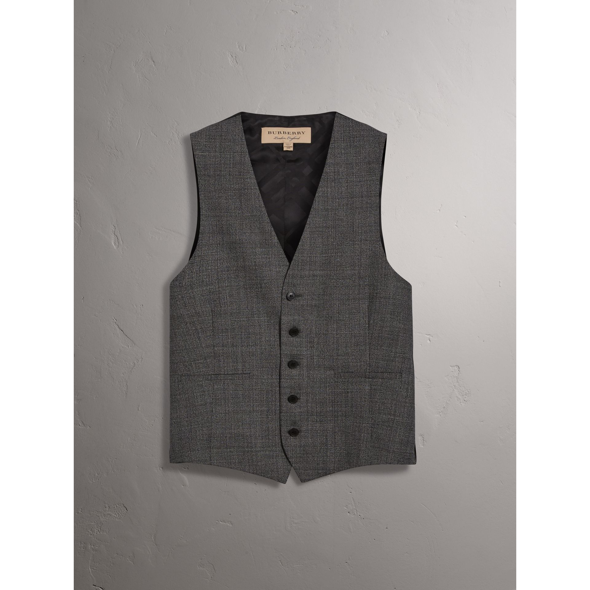 Slim Fit Wool Three-piece Suit in Dark Grey Melange - Men | Burberry - gallery image 5