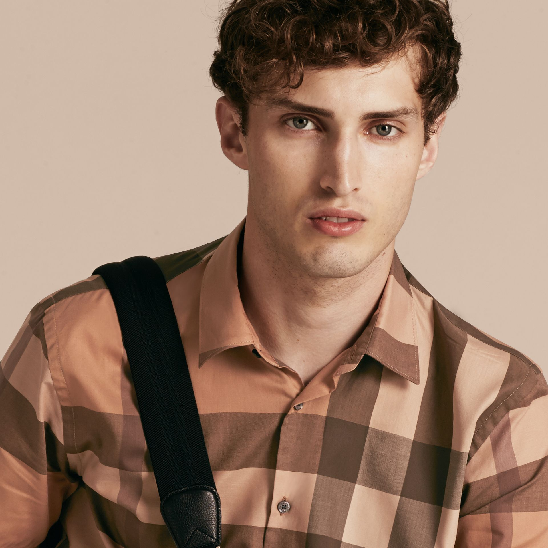 Dark camel Short-sleeved Check Cotton Shirt Dark Camel - gallery image 5