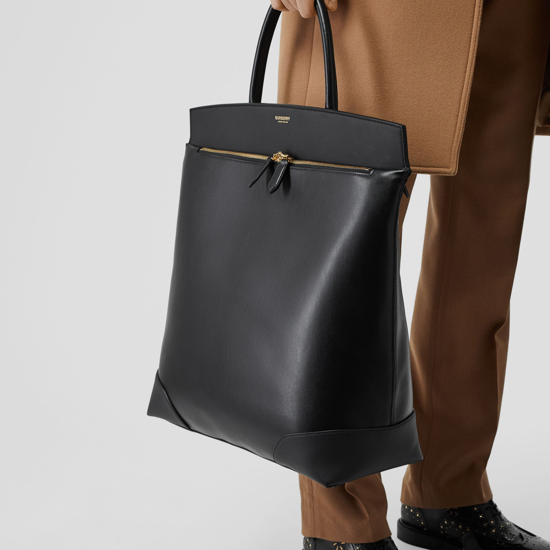 Leather Portrait Society Tote in Black - Men | Burberry United States - gallery image 8
