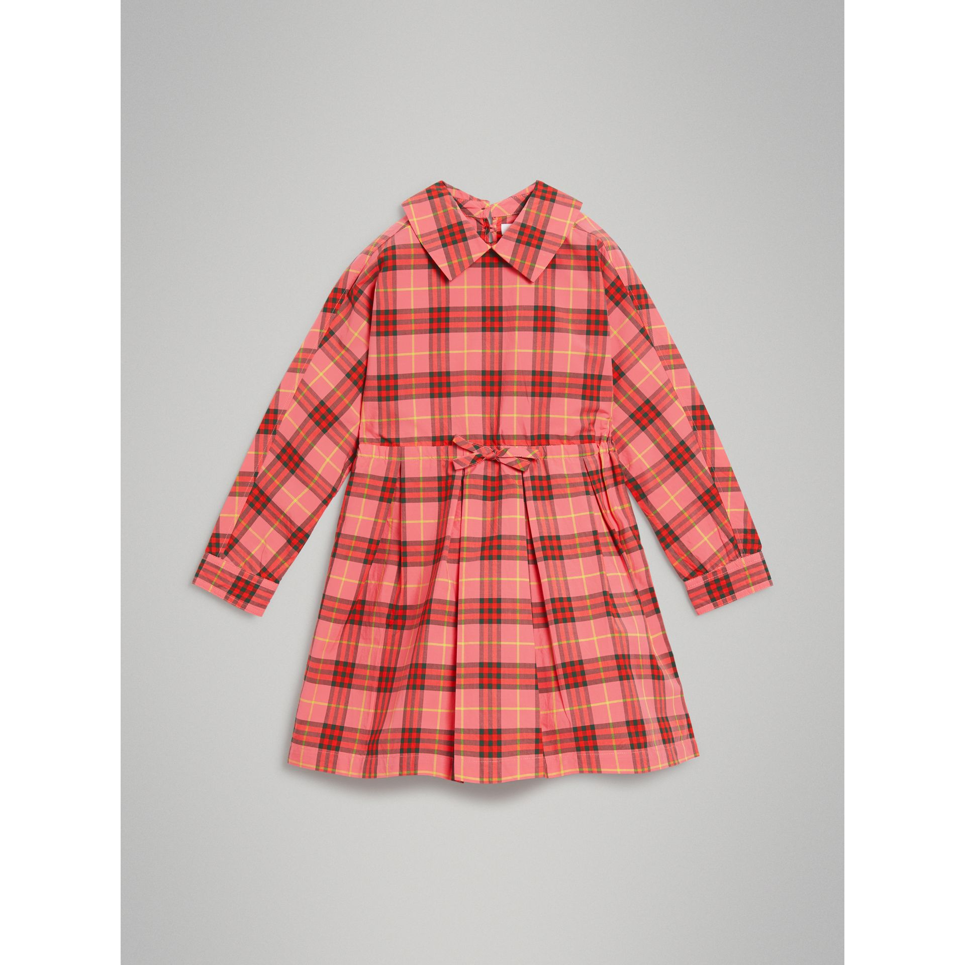 Robe à cordon de serrage en coton à motif check (Rouge Corail) - Fille | Burberry - photo de la galerie 0