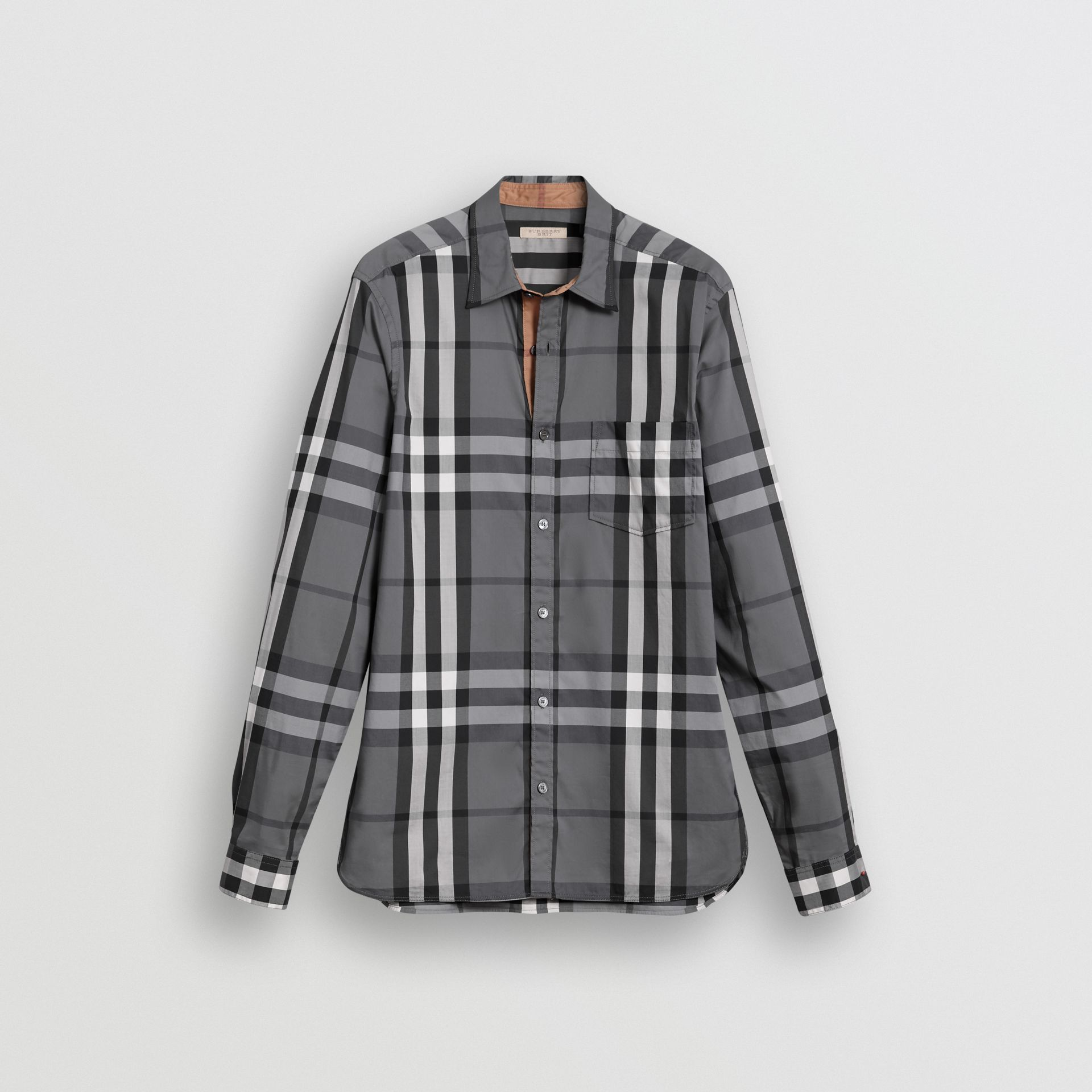 Check Stretch Cotton Shirt in Charcoal - Men | Burberry United States - gallery image 3